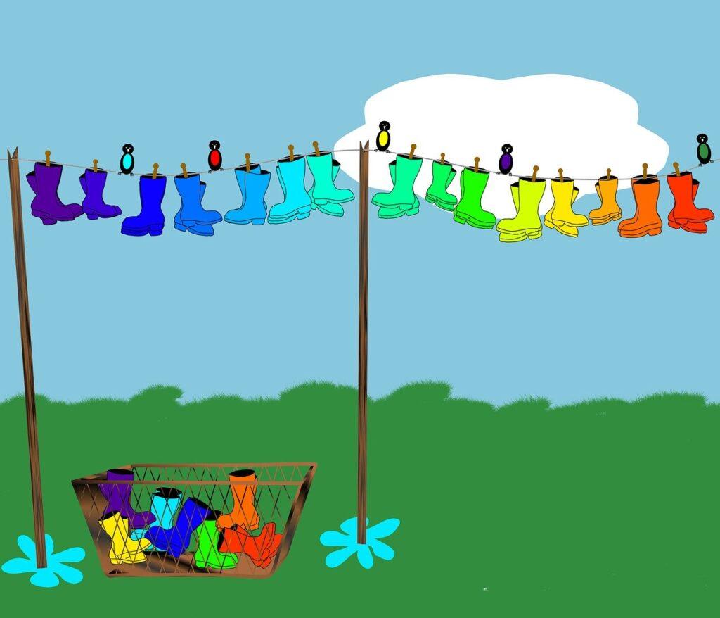 welly, boot, rainbow